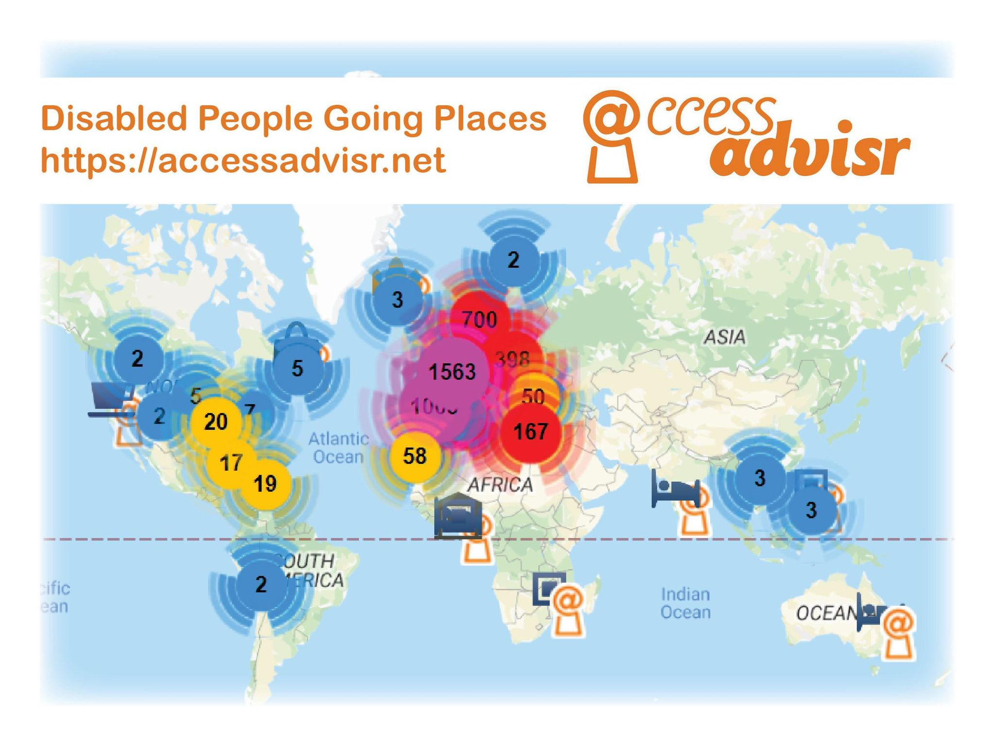 A map of the rate of disabled people and places they go around the world