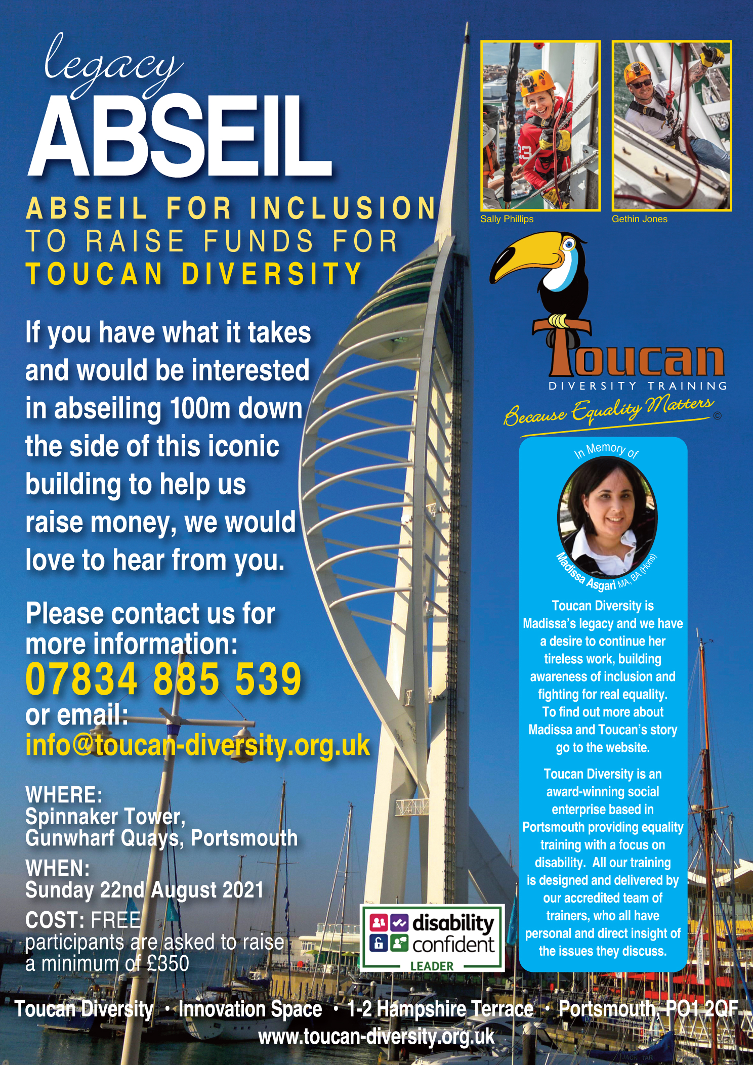 Poster for the abseil event.