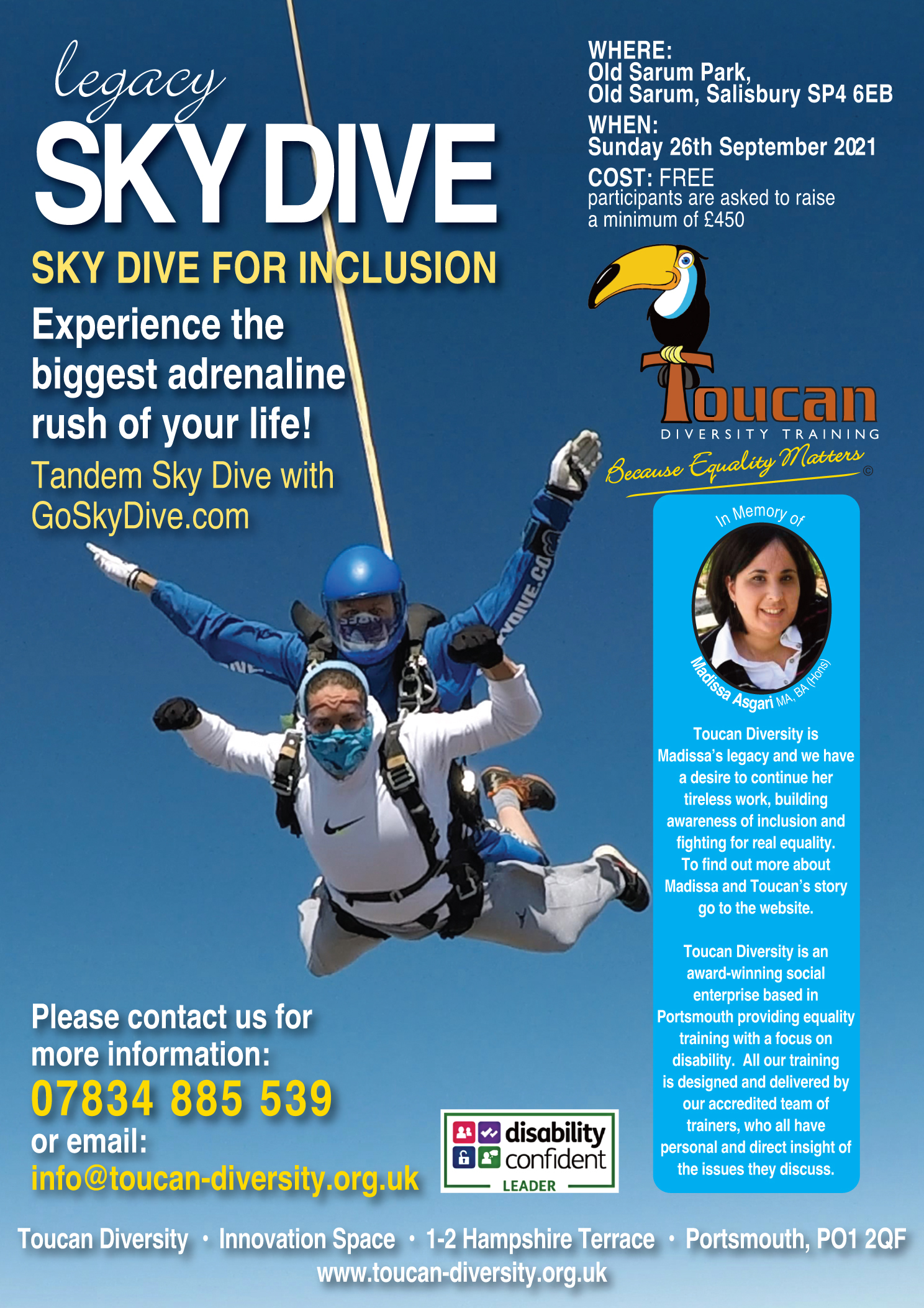 Poster for Skydive fundraiser